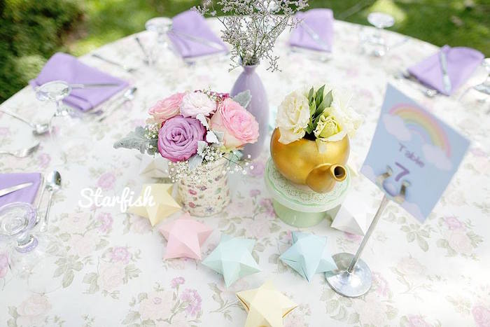 Guest Table from a Pastel Girly Wonderland + Rainbow Birthday Party via Kara's Party Ideas KarasPartyIdeas.com (16)