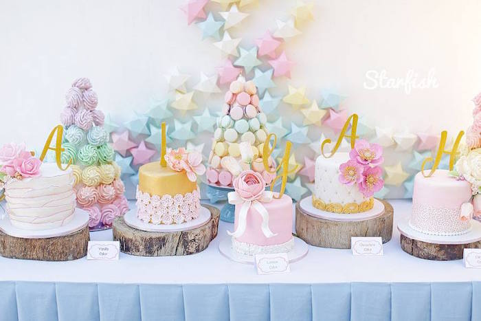 Cake + Sweet Table from a Pastel Girly Wonderland + Rainbow Birthday Party via Kara's Party Ideas KarasPartyIdeas.com (14)