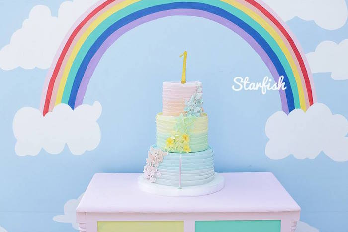 Cake from a Pastel Girly Wonderland + Rainbow Birthday Party via Kara's Party Ideas KarasPartyIdeas.com (12)