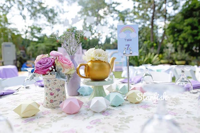 Guest Table from a Pastel Girly Wonderland + Rainbow Birthday Party via Kara's Party Ideas KarasPartyIdeas.com (10)