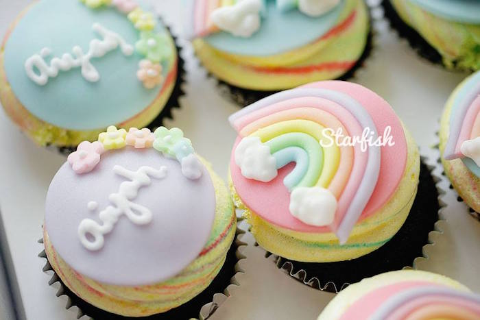 Cupcakes from a Pastel Girly Wonderland + Rainbow Birthday Party via Kara's Party Ideas KarasPartyIdeas.com (9)