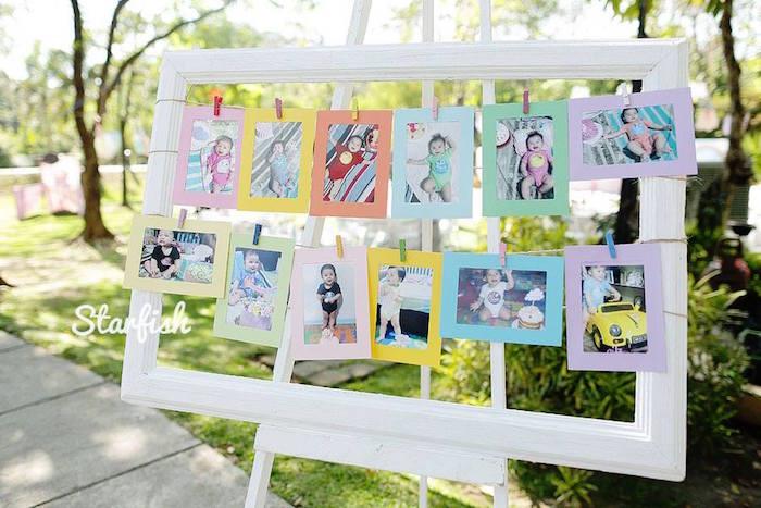 First Year Photo Collage from a Pastel Girly Wonderland + Rainbow Birthday Party via Kara's Party Ideas KarasPartyIdeas.com (8)
