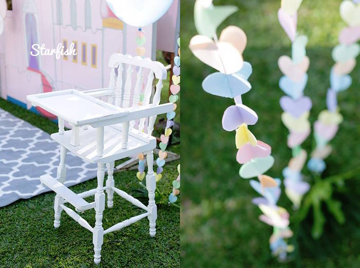 High Chair + Bunting from a Pastel Girly Wonderland + Rainbow Birthday Party via Kara's Party Ideas KarasPartyIdeas.com (7)