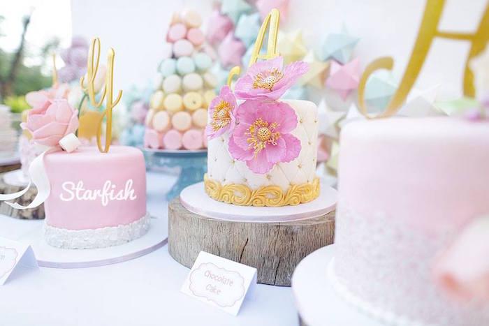 Cakes from a Pastel Girly Wonderland + Rainbow Birthday Party via Kara's Party Ideas KarasPartyIdeas.com (5)