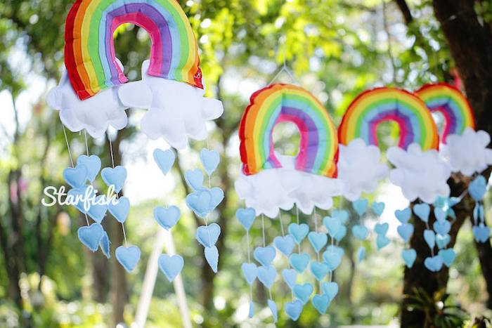 Rainbow Cloud Mobile Garland from a Pastel Girly Wonderland + Rainbow Birthday Party via Kara's Party Ideas KarasPartyIdeas.com (3)