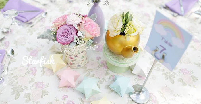 Guest Table Centerpieces from a Pastel Girly Wonderland + Rainbow Birthday Party via Kara's Party Ideas KarasPartyIdeas.com (1)