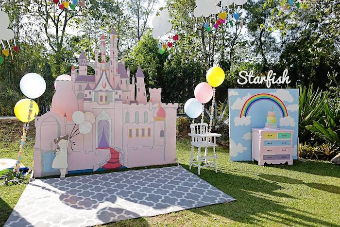 Castle + Cake Display from a Pastel Girly Wonderland + Rainbow Birthday Party via Kara's Party Ideas KarasPartyIdeas.com (35)
