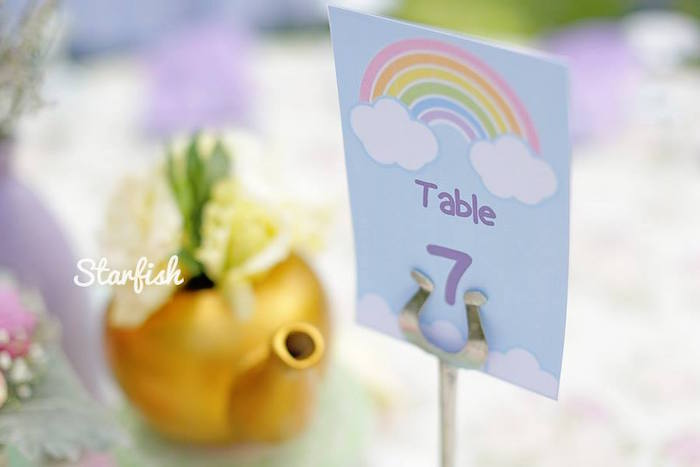 Table Number from a Pastel Girly Wonderland + Rainbow Birthday Party via Kara's Party Ideas KarasPartyIdeas.com (34)