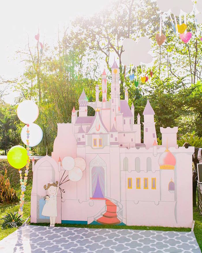 Castle Backdrop from a Pastel Girly Wonderland + Rainbow Birthday Party via Kara's Party Ideas KarasPartyIdeas.com (30)