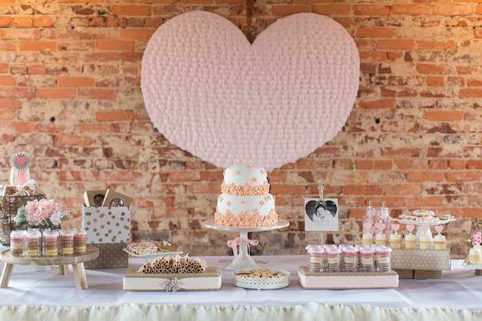 Sweet Table from a Pink & Coral Heart Themed Valentines Birthday Party via Kara's Party Ideas | KarasPartyIdeas.com (39)