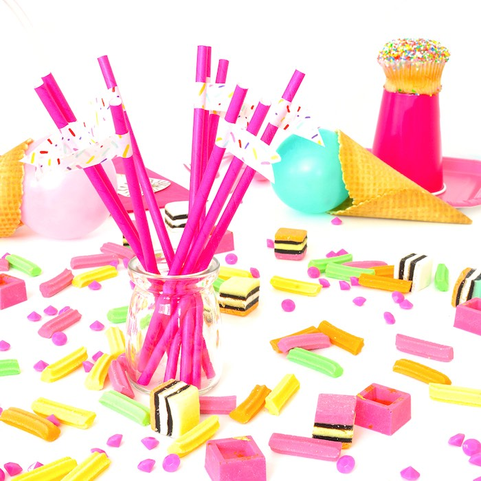 Straws + Scattered Licorice, Chocolate and Gems from a Pink Flamingo Birthday Party via Kara's Party Ideas | KarasPartyIdeas.com (5)