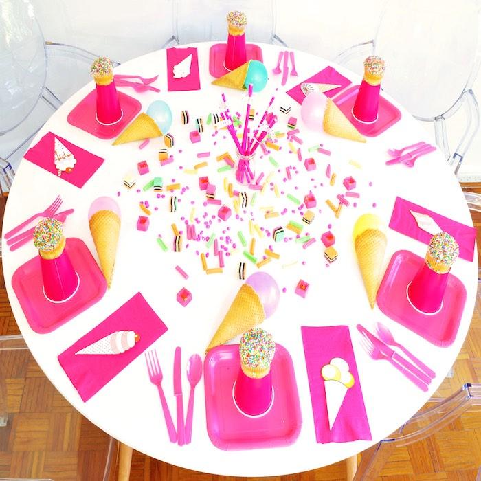 Tabletop from a Pink Flamingo Birthday Party via Kara's Party Ideas | KarasPartyIdeas.com (4)