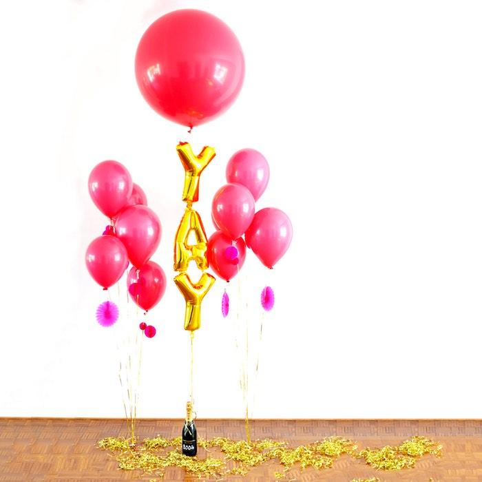 Balloon Decor + Champagne Weight from a Pink Flamingo Birthday Party via Kara's Party Ideas | KarasPartyIdeas.com (3)