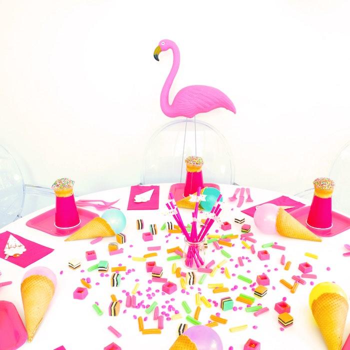 Flamingo Table Detail from a Pink Flamingo Birthday Party via Kara's Party Ideas | KarasPartyIdeas.com (13)