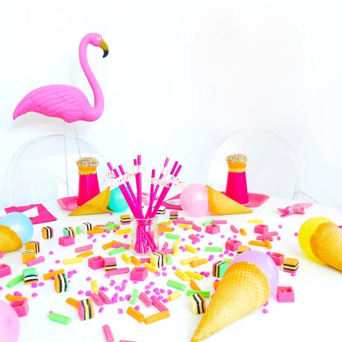 Flamingo Tablescape from a Pink Flamingo Birthday Party via Kara's Party Ideas | KarasPartyIdeas.com (11)