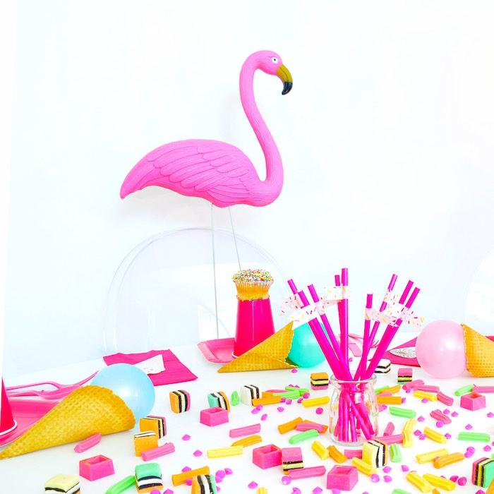 Flamingo Table from a Pink Flamingo Birthday Party via Kara's Party Ideas | KarasPartyIdeas.com (10)