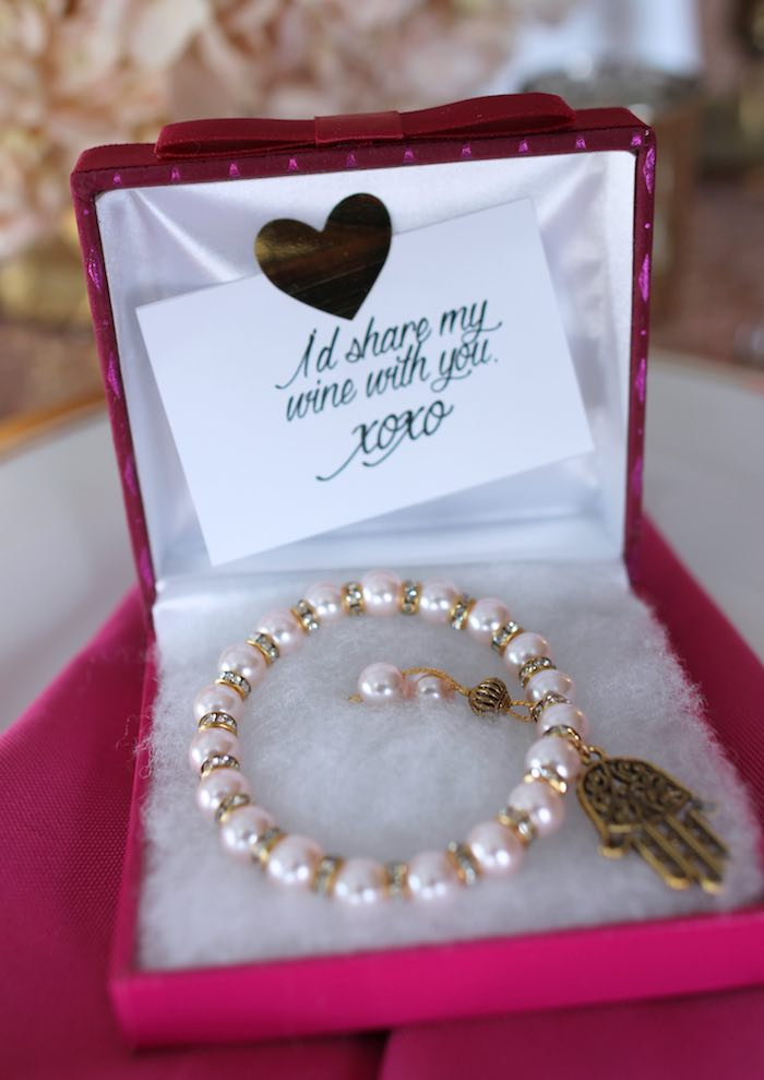 Pearl Bracelet Favor + Exchange from a Pink + Gold Galentines Valentines Party via Kara's Party Ideas | KarasPartyIdeas.com | The Place for All Things Party! (30)
