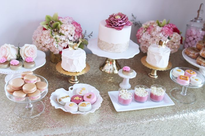 Sweet Table from a Pink + Gold Galentines Valentines Party via Kara's Party Ideas | KarasPartyIdeas.com | The Place for All Things Party! (29)