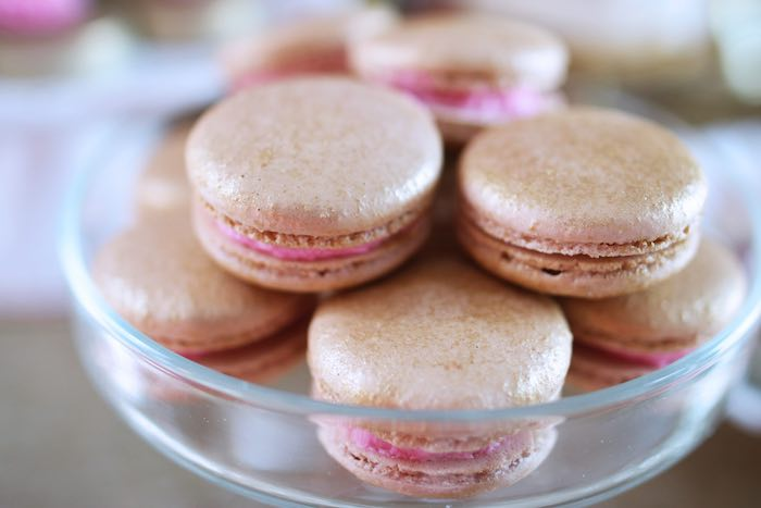Macarons from a Pink + Gold Galentines Valentines Party via Kara's Party Ideas | KarasPartyIdeas.com | The Place for All Things Party! (27)