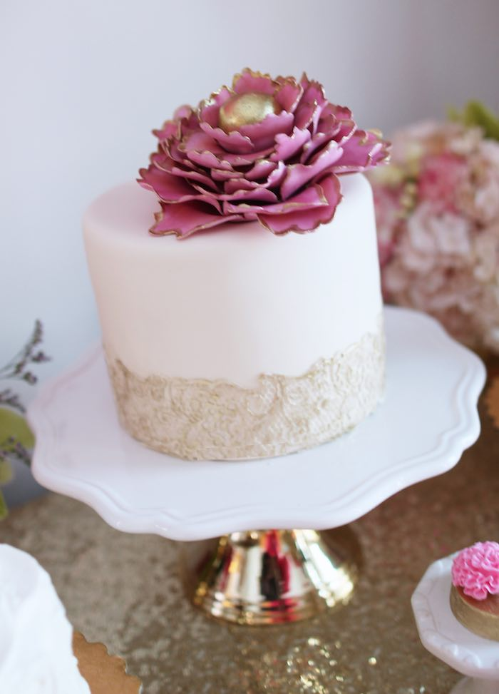 Cake from a Pink + Gold Galentines Valentines Party via Kara's Party Ideas | KarasPartyIdeas.com | The Place for All Things Party! (24)