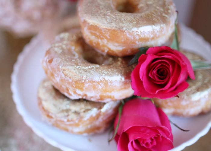 Doughnuts from a Pink + Gold Galentines Valentines Party via Kara's Party Ideas | KarasPartyIdeas.com | The Place for All Things Party! (23)
