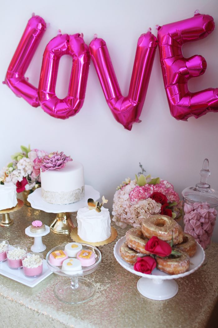 Sweet Table From A Pink + Gold Galentines Valentines Party Via Karau0027s Party  Ideas | KarasPartyIdeas