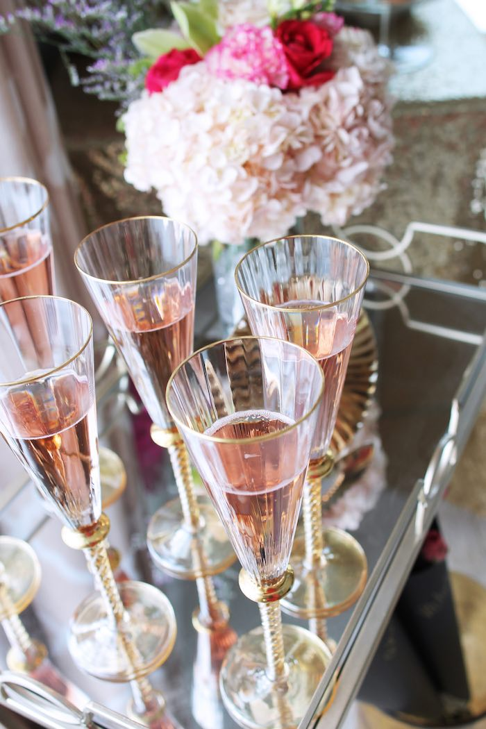Drinks from a Pink + Gold Galentines Valentines Party via Kara's Party Ideas | KarasPartyIdeas.com | The Place for All Things Party! (39)