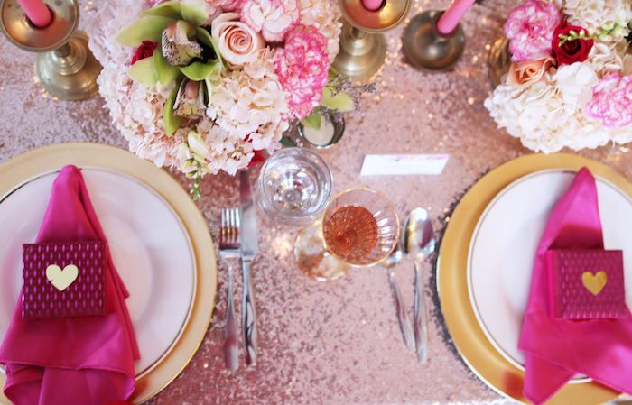 Dining Tabletop from a Pink + Gold Galentines Valentines Party via Kara's Party Ideas | KarasPartyIdeas.com | The Place for All Things Party! (20)