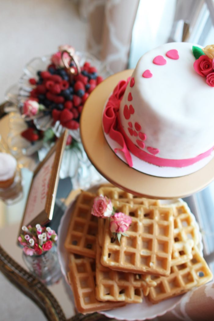 Cake + Waffle Bar from a Pink + Gold Galentines Valentines Party via Kara's Party Ideas | KarasPartyIdeas.com | The Place for All Things Party! (19)