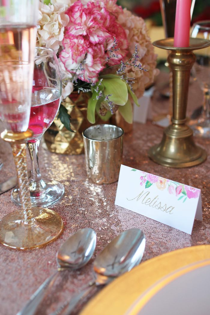 Dining Table Decor from a Pink + Gold Galentines Valentines Party via Kara's Party Ideas | KarasPartyIdeas.com | The Place for All Things Party! (17)