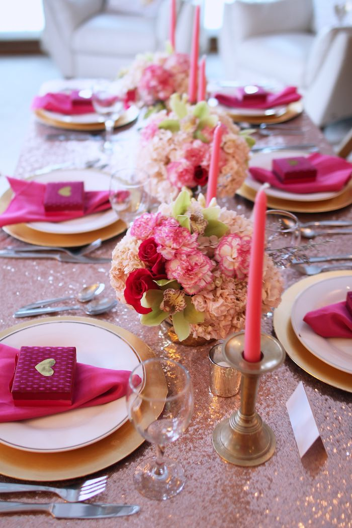 Dining Tablescape from a Pink + Gold Galentines Valentines Party via Kara's Party Ideas | KarasPartyIdeas.com | The Place for All Things Party! (16)