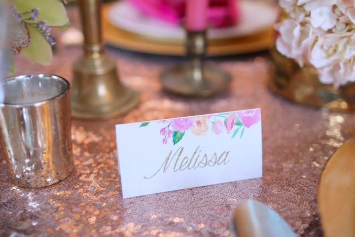 Name Card from a Pink + Gold Galentines Valentines Party via Kara's Party Ideas | KarasPartyIdeas.com | The Place for All Things Party! (15)