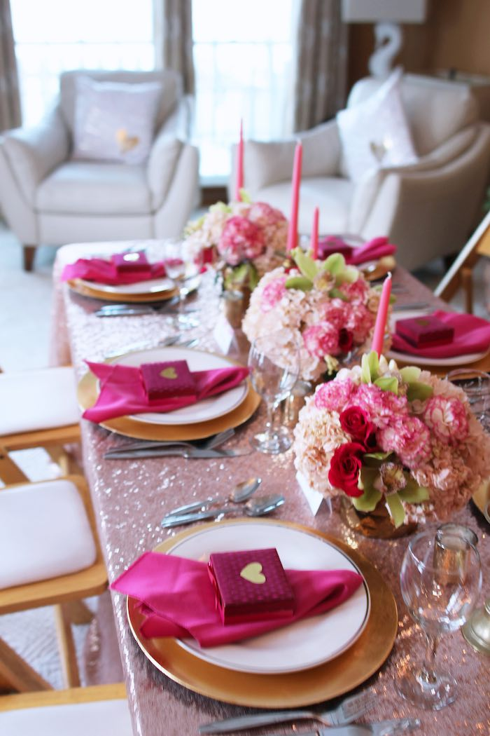 Dining Tablescape from a Pink + Gold Galentines Valentines Party via Kara's Party Ideas | KarasPartyIdeas.com | The Place for All Things Party! (14)
