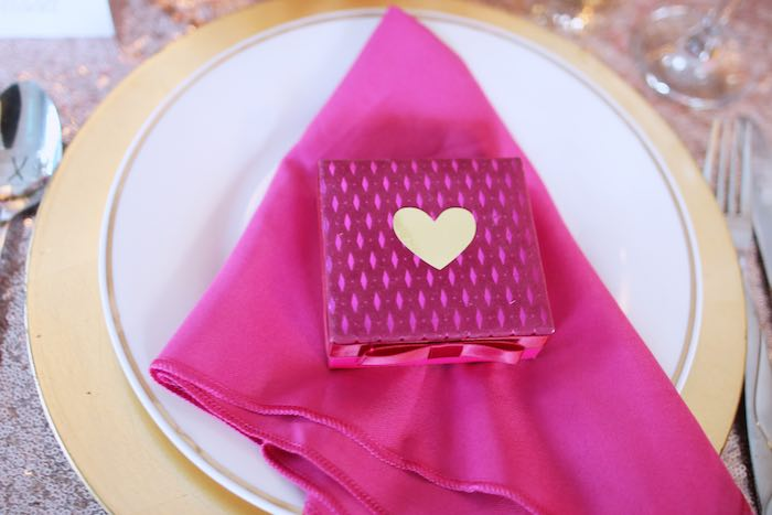 Place Setting from a Pink + Gold Galentines Valentines Party via Kara's Party Ideas | KarasPartyIdeas.com | The Place for All Things Party! (13)