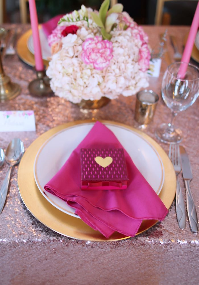 Place Setting from a Pink + Gold Galentines Valentines Party via Kara's Party Ideas | KarasPartyIdeas.com | The Place for All Things Party! (12)