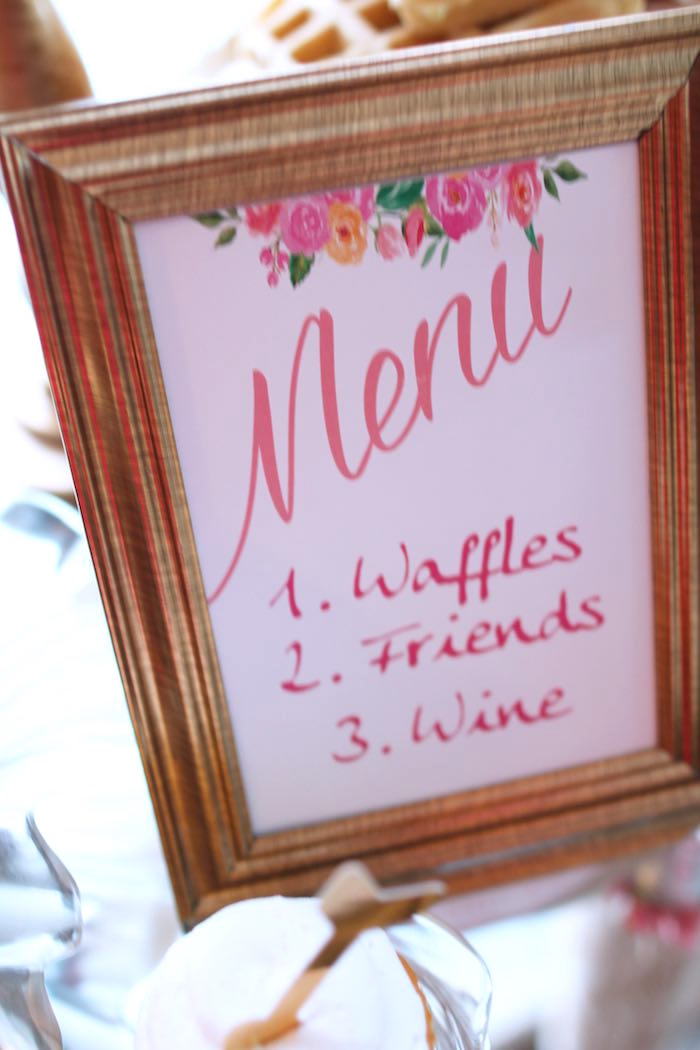 Menu Sign from a Pink + Gold Galentines Valentines Party via Kara's Party Ideas | KarasPartyIdeas.com | The Place for All Things Party! (11)