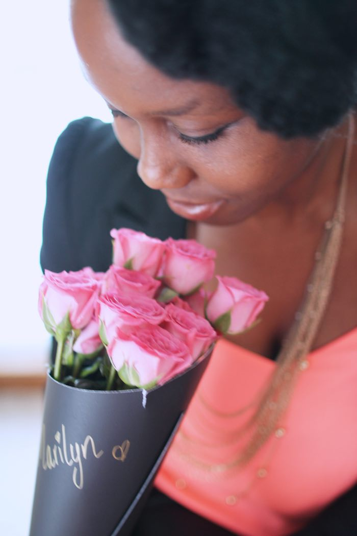 Gal with her Rose Bouquet Favor from a Pink + Gold Galentines Valentines Party via Kara's Party Ideas | KarasPartyIdeas.com | The Place for All Things Party! (10)