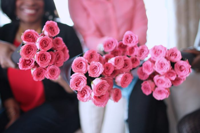 Rose Bouquet Favors from a Pink + Gold Galentines Valentines Party via Kara's Party Ideas | KarasPartyIdeas.com | The Place for All Things Party! (9)