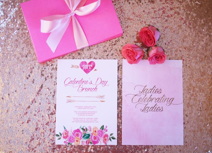 Invitation from a Pink + Gold Galentines Valentines Party via Kara's Party Ideas | KarasPartyIdeas.com | The Place for All Things Party! (8)