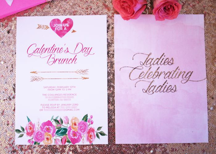 Invitation from a Pink + Gold Galentines Valentines Party via Kara's Party Ideas | KarasPartyIdeas.com | The Place for All Things Party! (7)