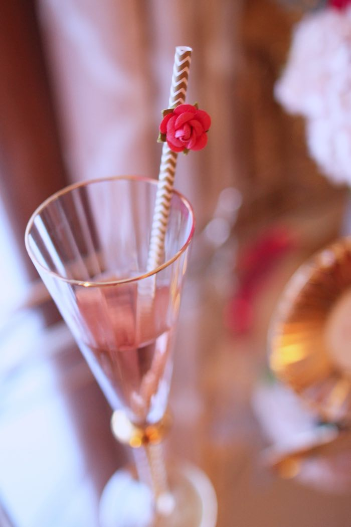 Champagne Flute from a Pink + Gold Galentines Valentines Party via Kara's Party Ideas | KarasPartyIdeas.com | The Place for All Things Party! (6)