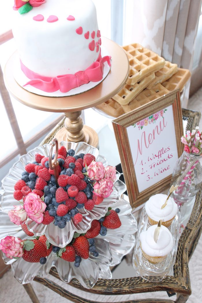 Waffle Bar from a Pink + Gold Galentines Valentines Party via Kara's Party Ideas | KarasPartyIdeas.com | The Place for All Things Party! (37)