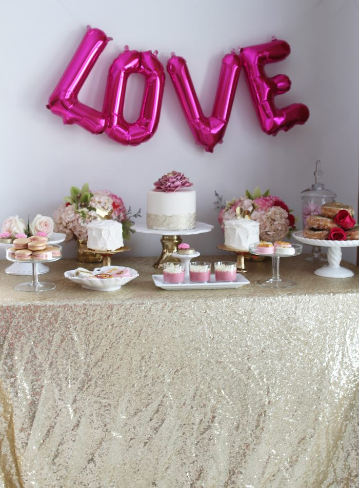 Dessert Table from a Pink + Gold Galentines Valentines Party via Kara's Party Ideas | KarasPartyIdeas.com | The Place for All Things Party! (36)