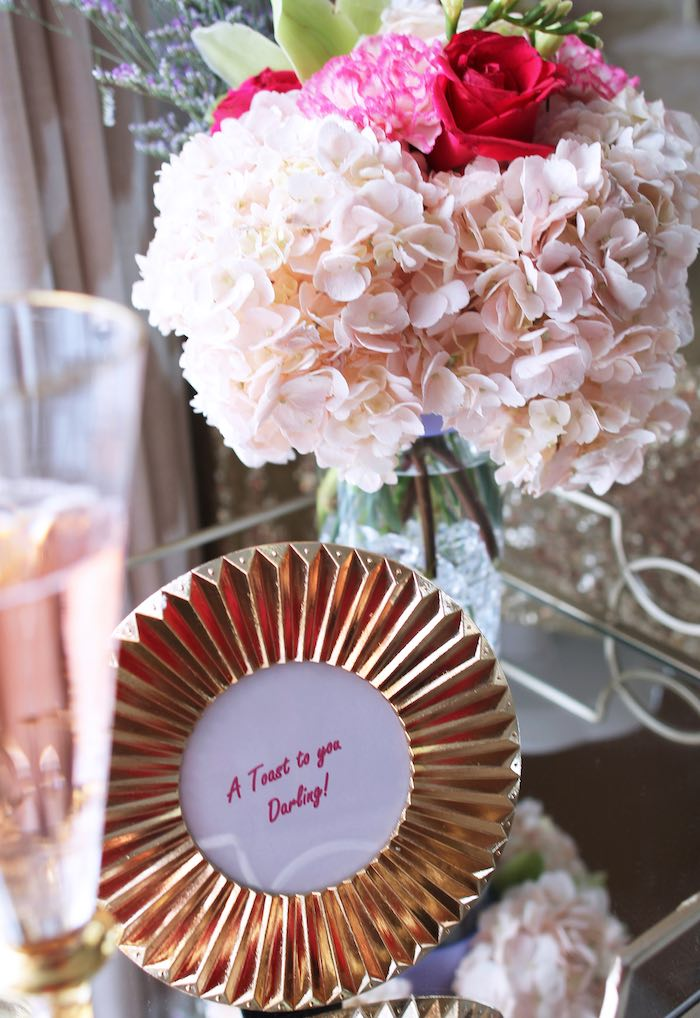 Drink Cart Decor from a Pink + Gold Galentines Valentines Party via Kara's Party Ideas | KarasPartyIdeas.com | The Place for All Things Party! (35)