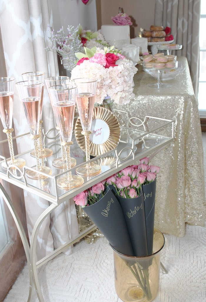 Drink Cart from a Pink + Gold Galentines Valentines Party via Kara's Party Ideas | KarasPartyIdeas.com | The Place for All Things Party! (34)