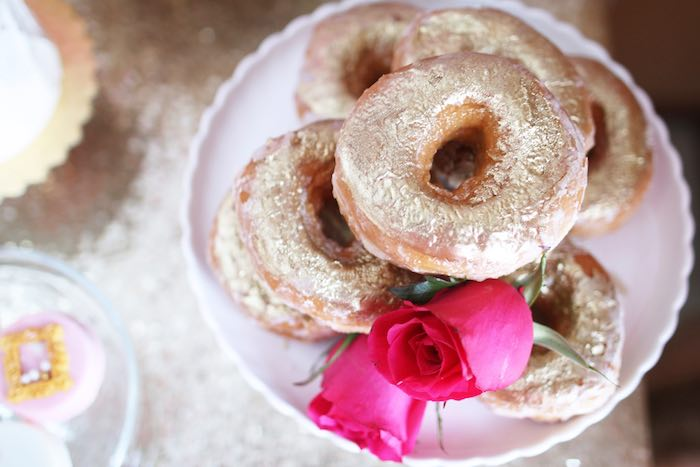 Doughnuts from a Pink + Gold Galentines Valentines Party via Kara's Party Ideas | KarasPartyIdeas.com | The Place for All Things Party! (32)