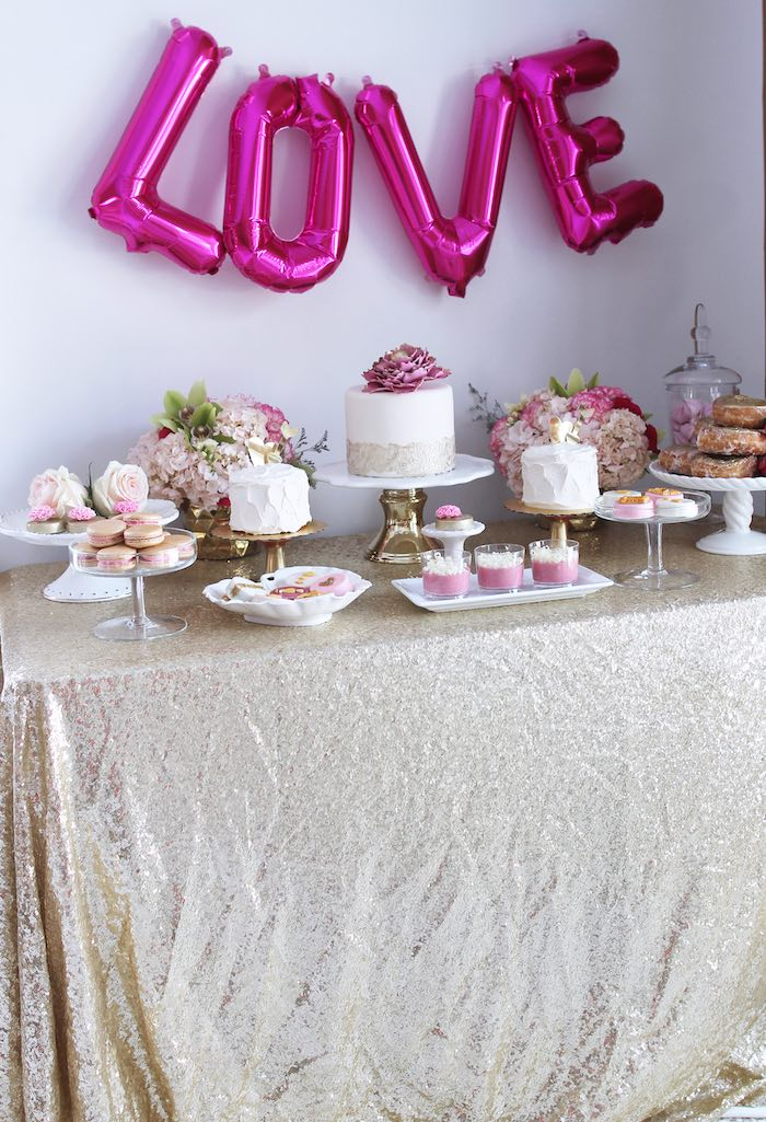 Sweet Table from a Pink + Gold Galentines Valentines Party via Kara's Party Ideas | KarasPartyIdeas.com | The Place for All Things Party! (31)