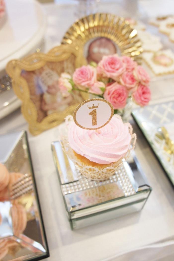Cupcake from a Pink & Gold Princess Party via Kara's Party Ideas | KarasPartyIdeas.com (19)