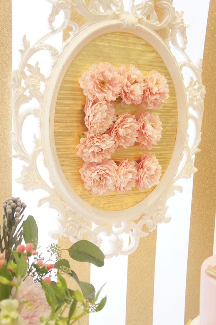 Dessert Table Backdrop Decor Piece from a Pink & Gold Princess Party via Kara's Party Ideas | KarasPartyIdeas.com (11)