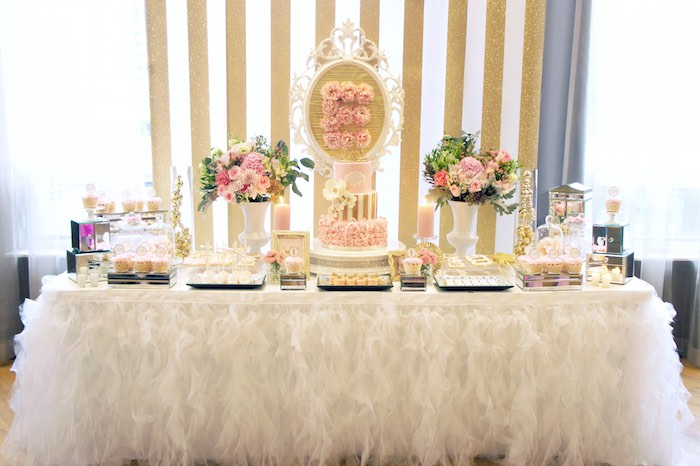 Dessert Table from a Pink & Gold Princess Party via Kara's Party Ideas | KarasPartyIdeas.com (31)